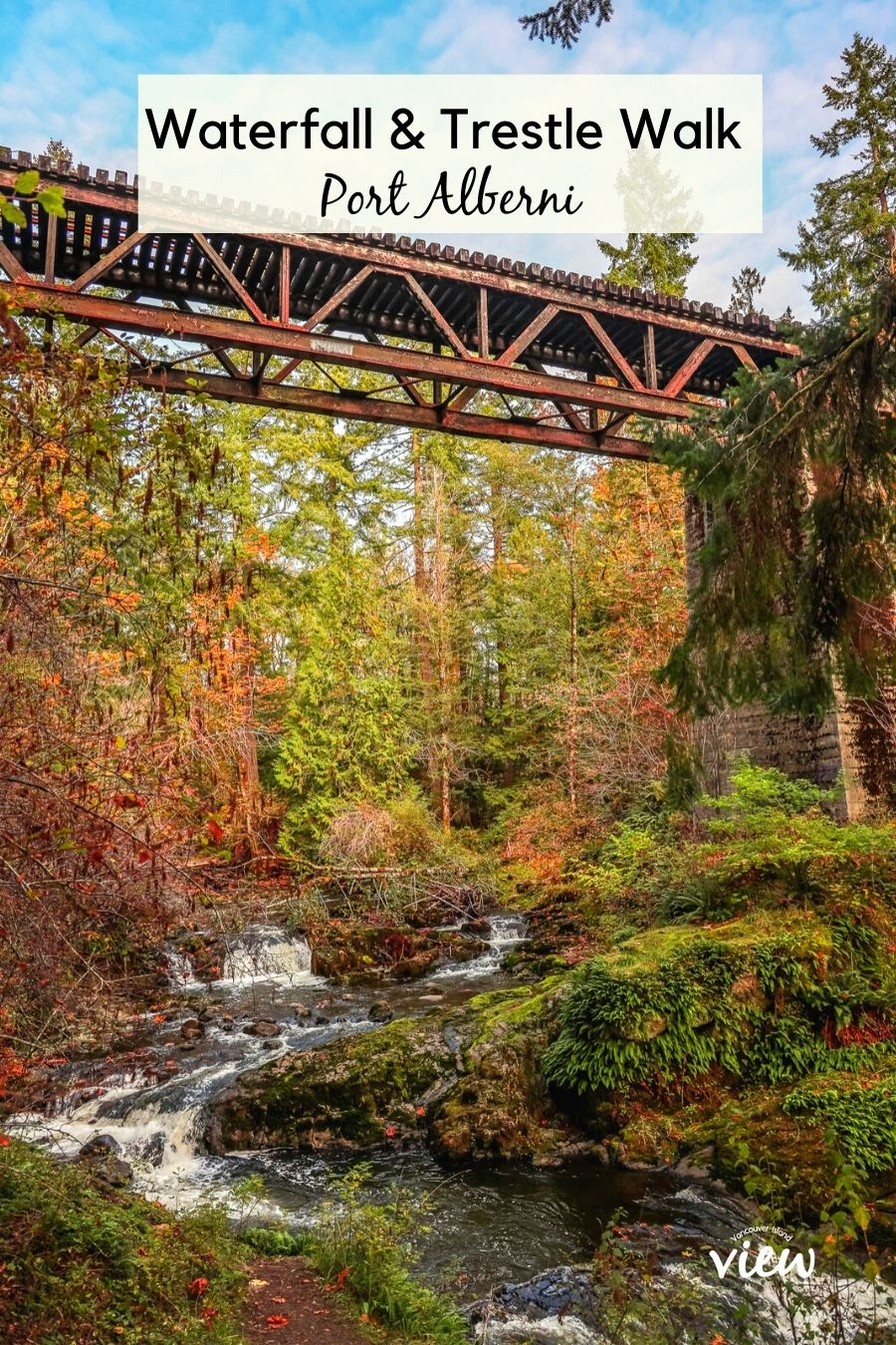 A beautiful waterfall and trestle walk in Port Alberni following the Kitsuksis Creek. Vancouver Island View.