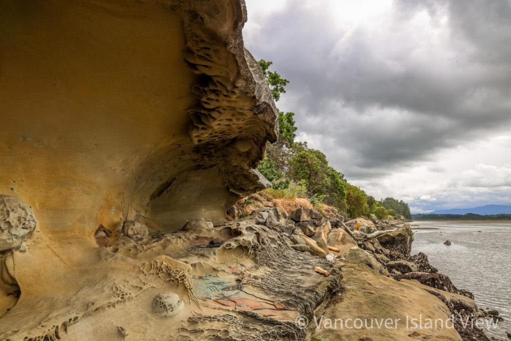 Unique sandstone formations at Biggs Park in Nanaimo. Vancouver Island View